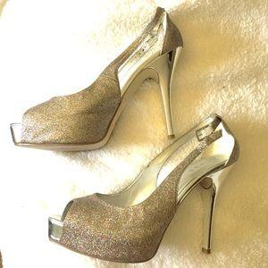 👠Gold Glitter Peep Toe Platform Sandals 10 GUC👠